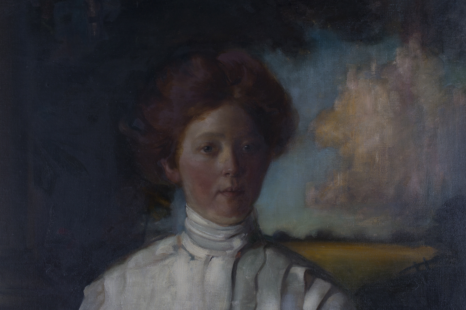 Lot 32 - Edgar Lee - Full Length Portrait of a Young Lady wearing a White Dress beside a Column, oil on