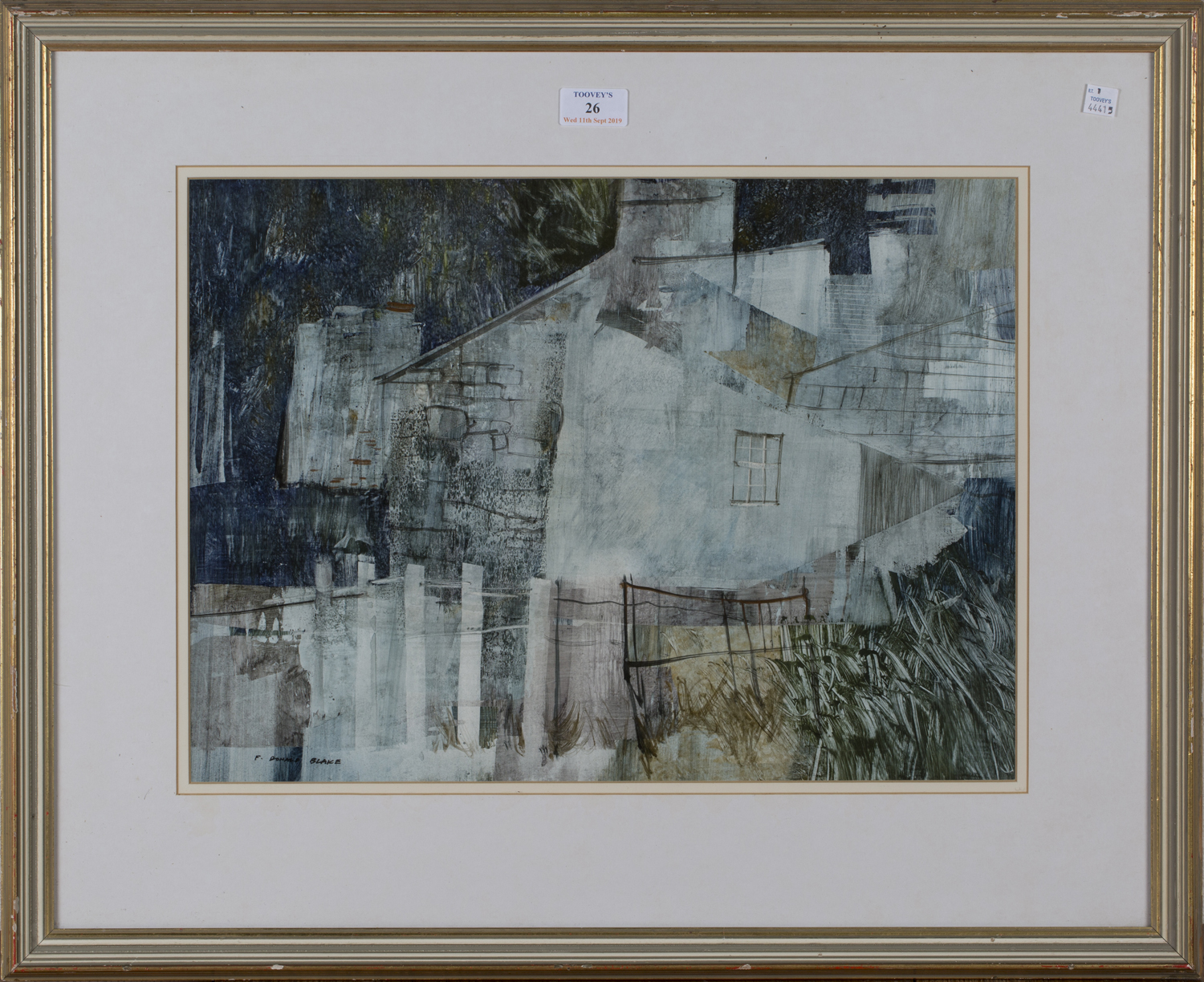 Lot 26 - Frederick Donald Blake - 'The Back of a House, Wales', 20th century acrylic and watercolour,