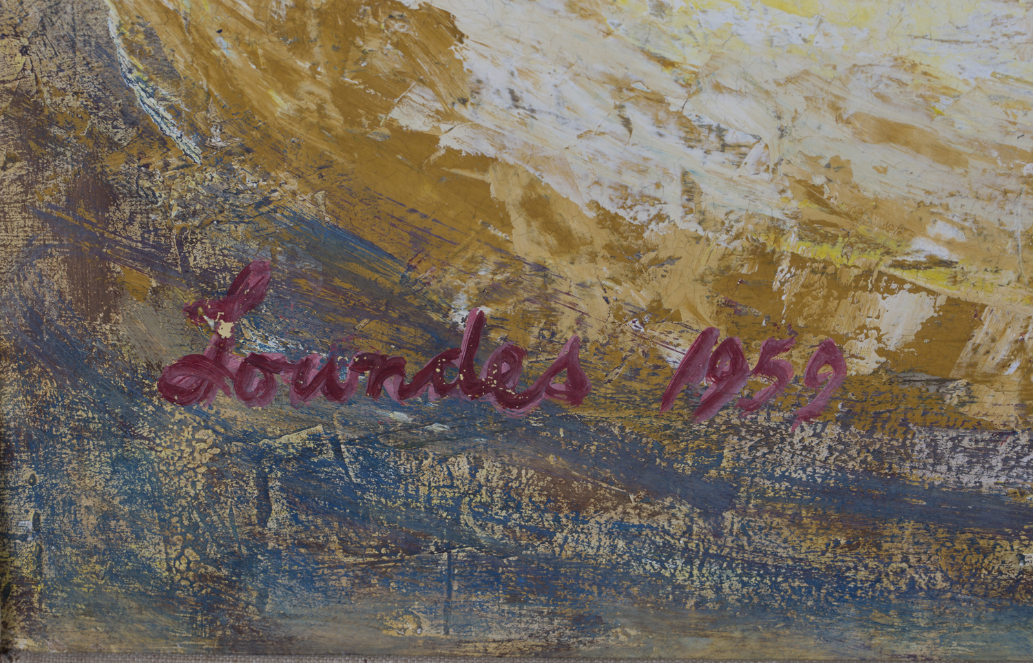 Lot 33 - Alan Lowndes - 'Circus Scene', oil with gouache on board, signed and dated 1959 recto, titled