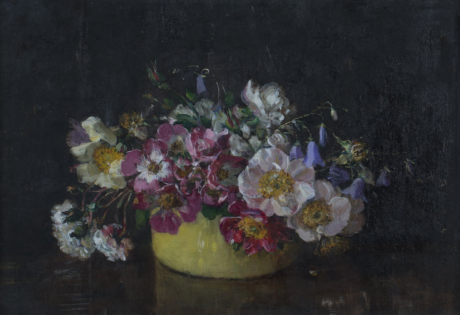 Lot 49 - Emily Beatrice Bland - 'Single Roses in a Yellow Bowl', early 20th century oil on board, artist's