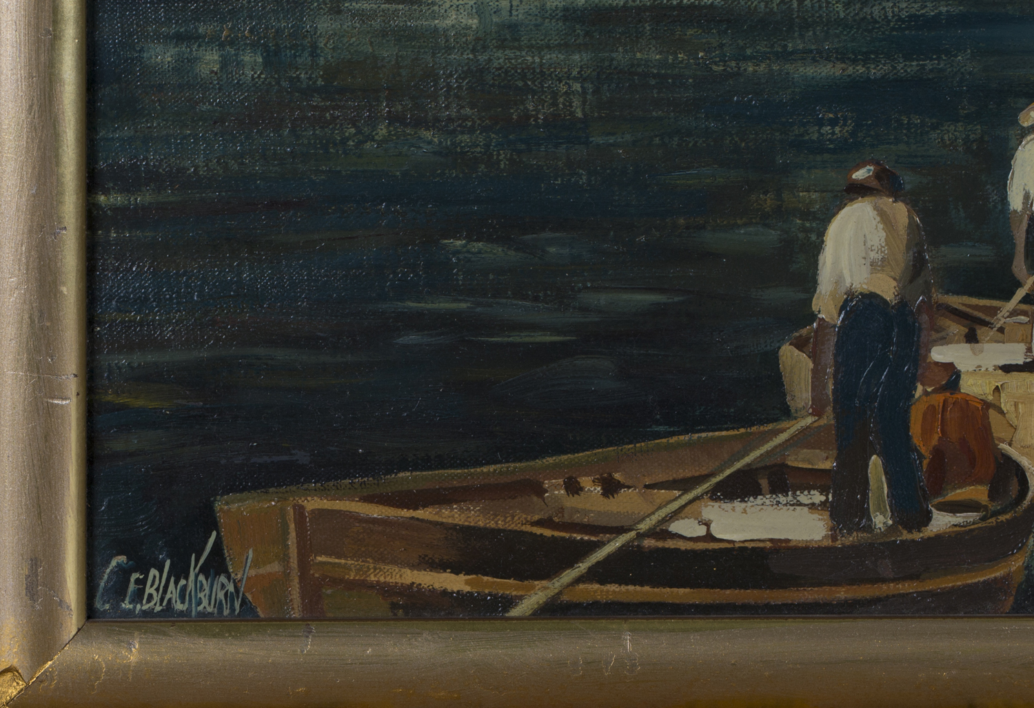 Lot 37 - Clarence E. Blackburn - Harbour Scene with Boats and Fishermen, possibly Brixham, 20th century oil