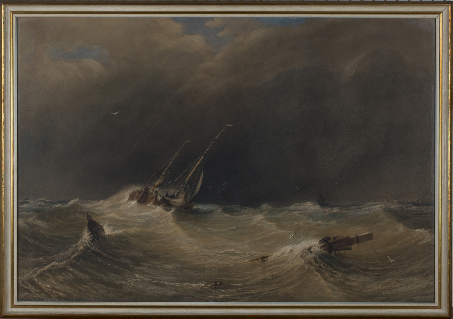 Lot 39 - Anthony Vandyck Copley Fielding - 'Squally Weather', 19th century watercolour, signed recto,