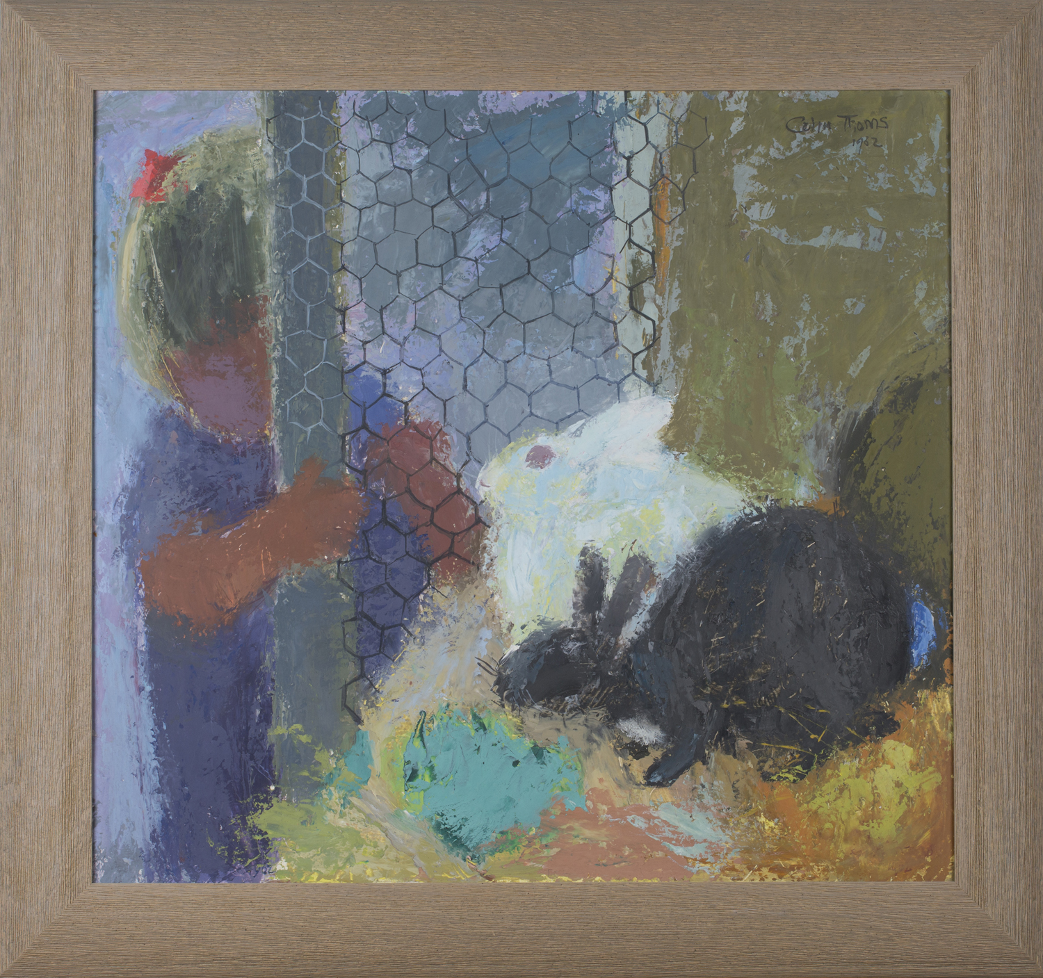 Lot 14 - Colin Thoms - Child watching Rabbits in a Hutch, acrylic on board, signed and dated 1962, 59cm x