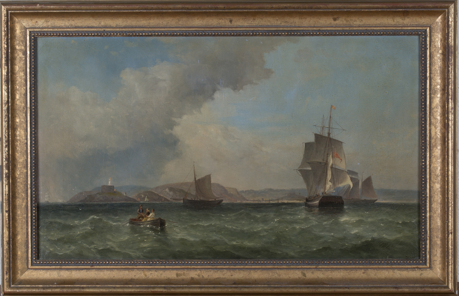 Lot 4 - British School - Coastal Scene with Boats and Ships, Lighthouse and Distant Town, 19th century oil