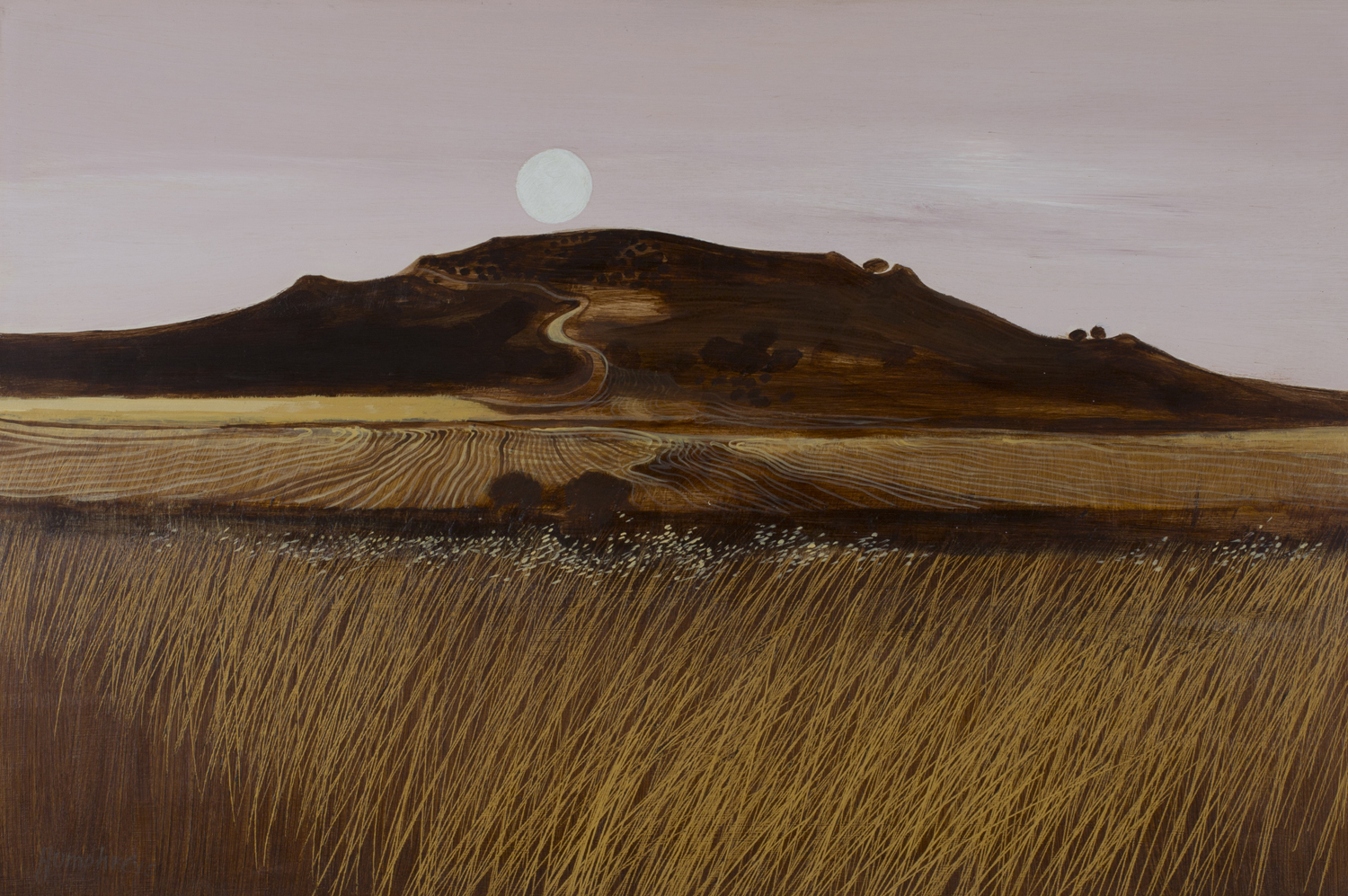 Lot 44 - David Humphreys - 'Harvest Fields at Evening, Wiltshire', 20th century oil on board, signed recto,