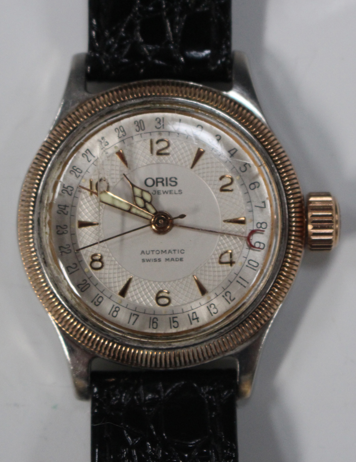 Lot 1036 - An Oris Big Crown Pointer Date Automatic gilt and steel cased gentleman's wristwatch with a signed