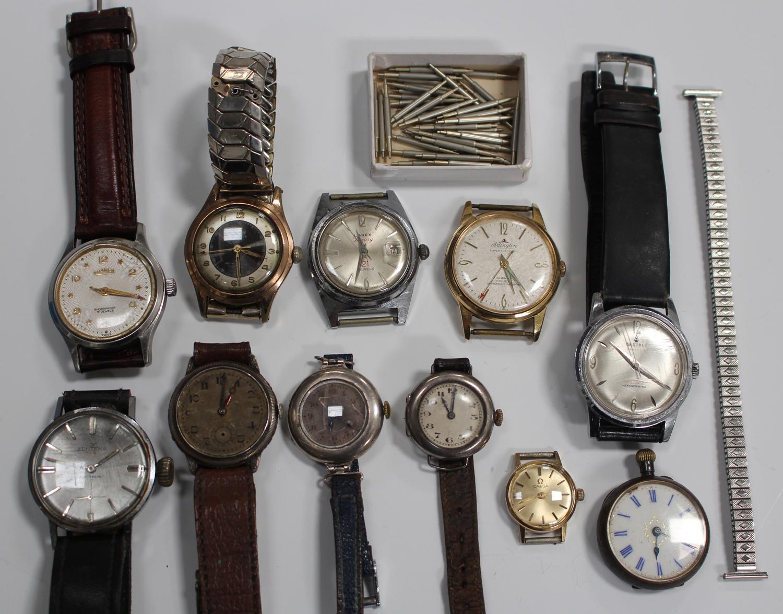 Lot 1034 - A group of six gentlemen's wristwatches, comprising Lunesa, Roamer, Zentena, Castell Premier,