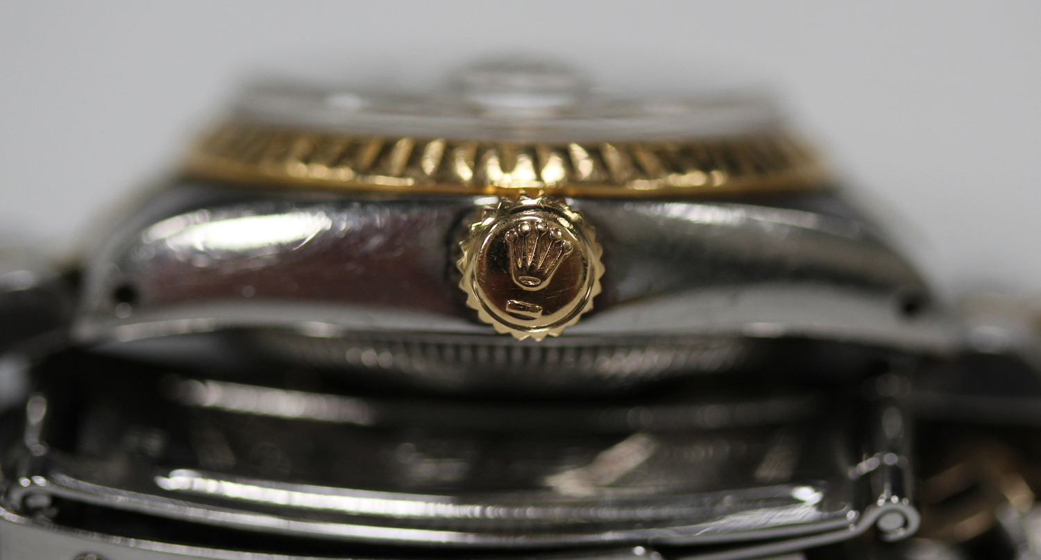 Lot 1040 - A Rolex Oyster Perpetual Datejust steel and gold lady's bracelet wristwatch, the silvered dial