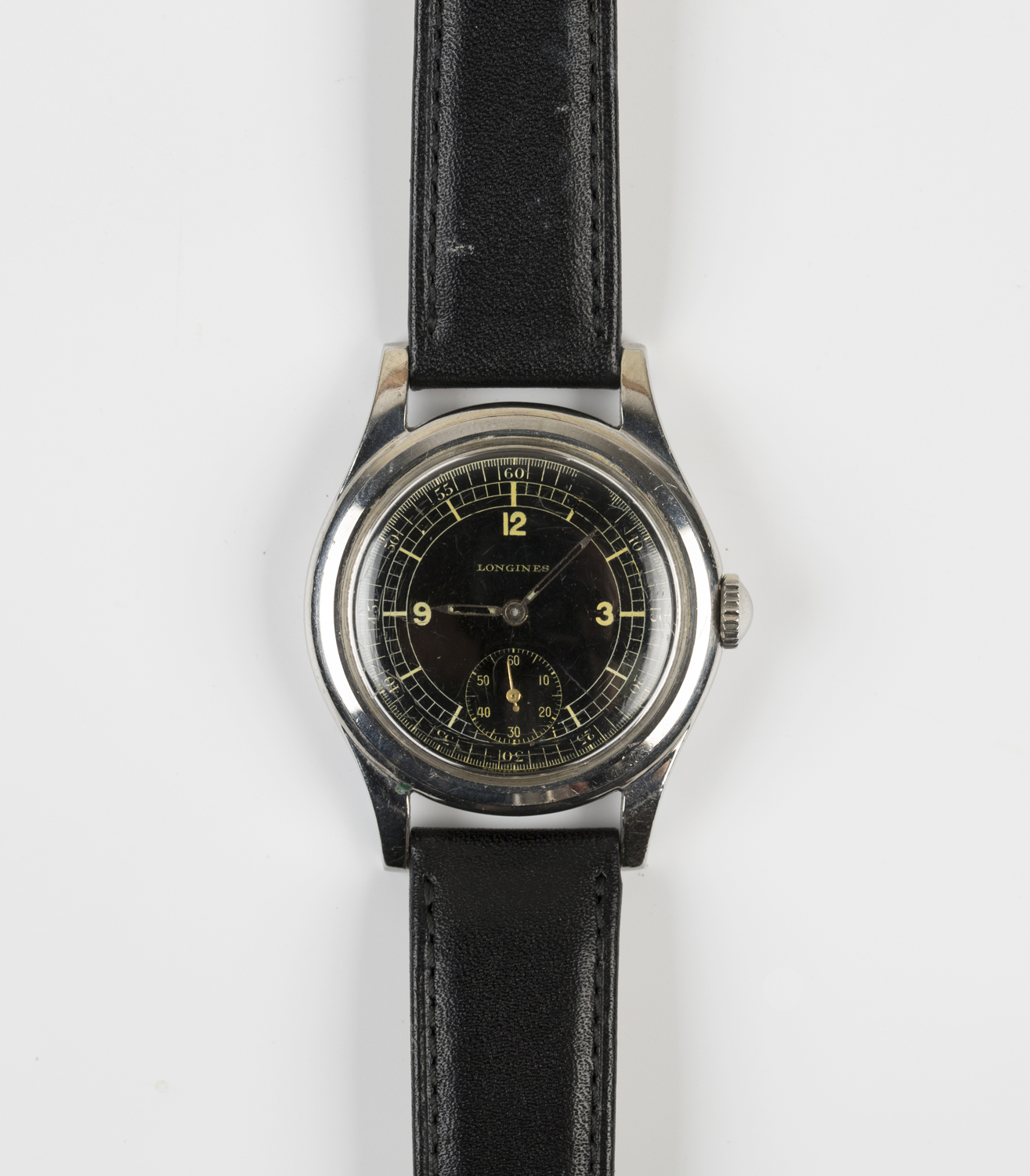 Lot 1030 - A Longines steel cased gentleman's wristwatch, circa 1951, the signed and jewelled movement numbered