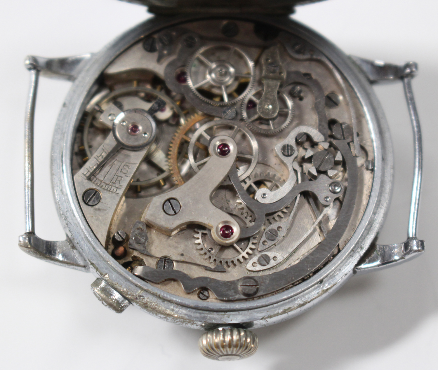 Lot 1049 - A Roskopf Wille Frères steel cased gentleman's chronograph wristwatch with an unsigned jewelled