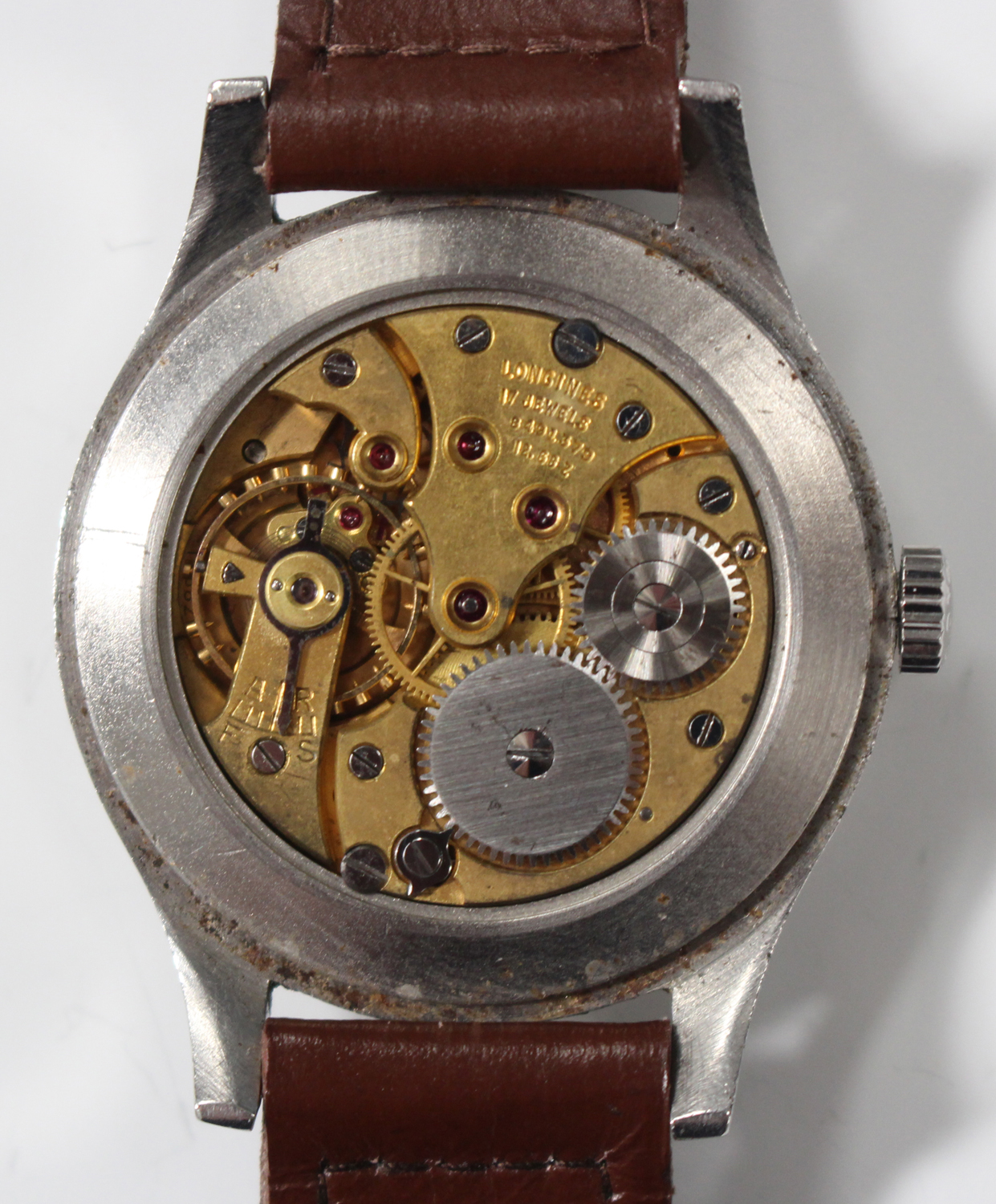 Lot 1047 - A Longines steel cased oversized gentleman's wristwatch, circa 1951, the signed jewelled movement