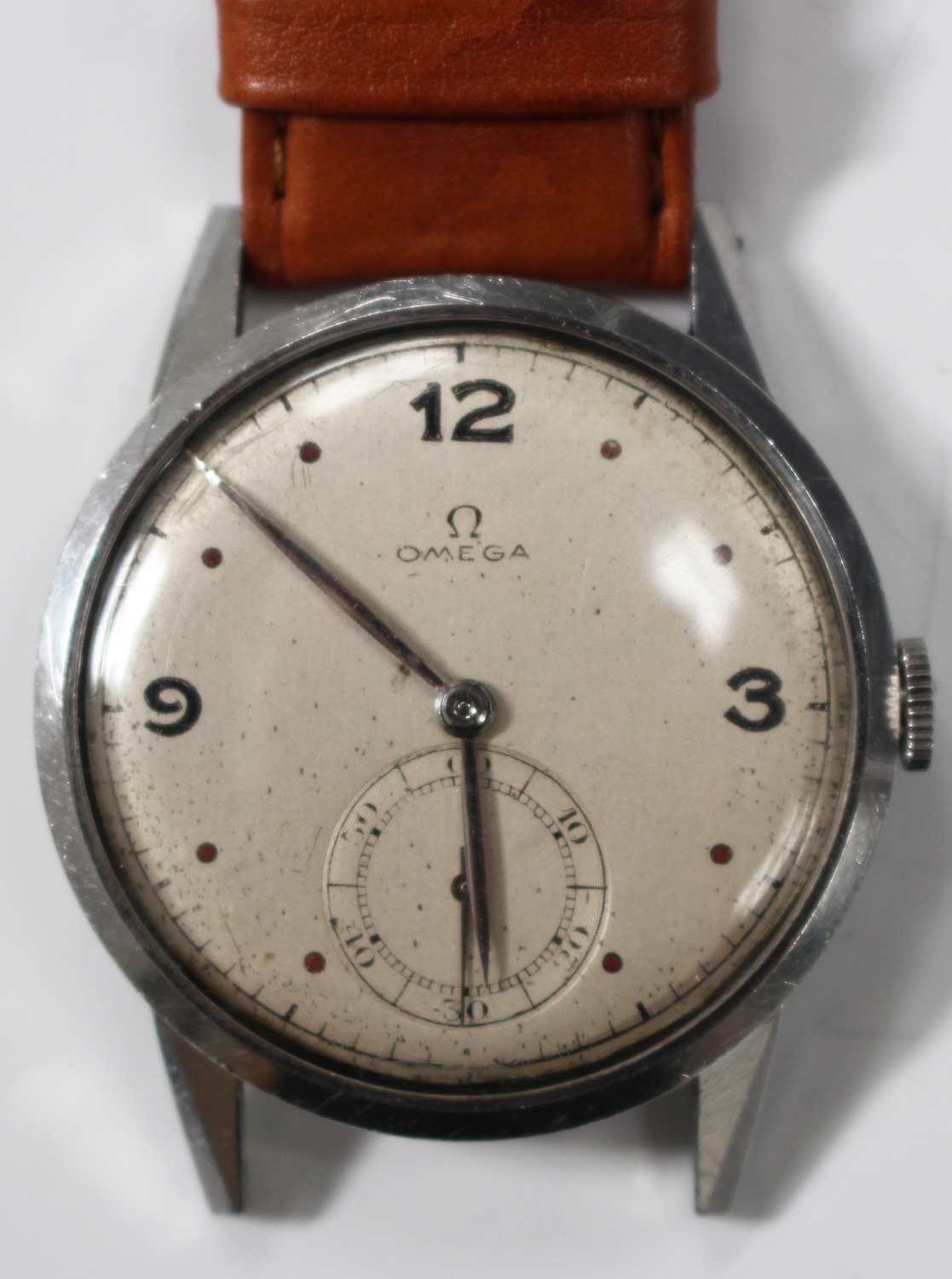 Lot 1035 - An Omega steel cased oversized gentleman's wristwatch, circa 1944, the signed jewelled movement
