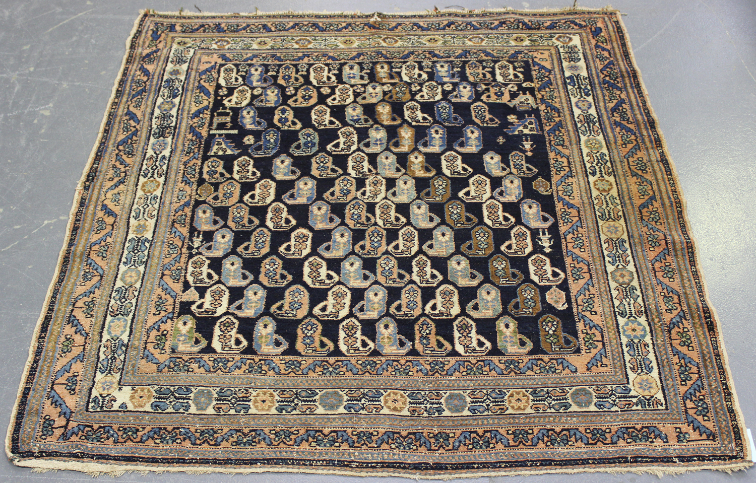 Lot 2923 - An Afshar rug, South-west Persia, early 20th century, the midnight blue field with overall boteh and