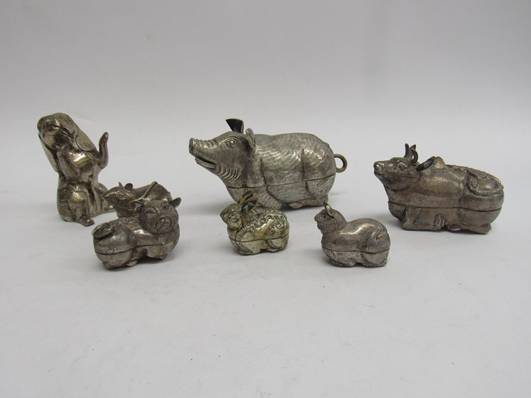 Lot 6281 - A selection of Cambodian white metal animal form trinket pots and ornaments including a miniature