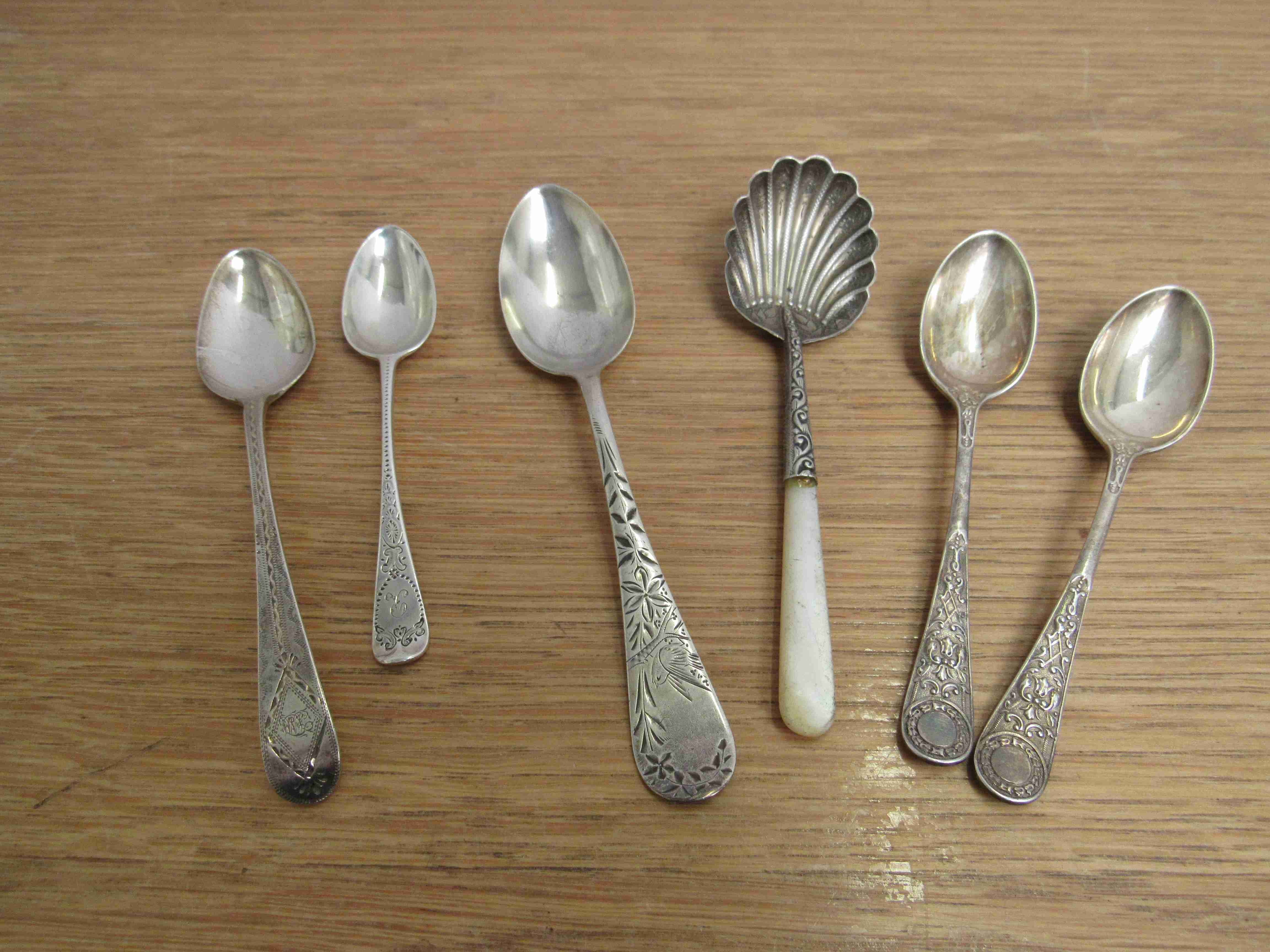 Lot 49 - Six silver spoons including Scottish example one marked silver,