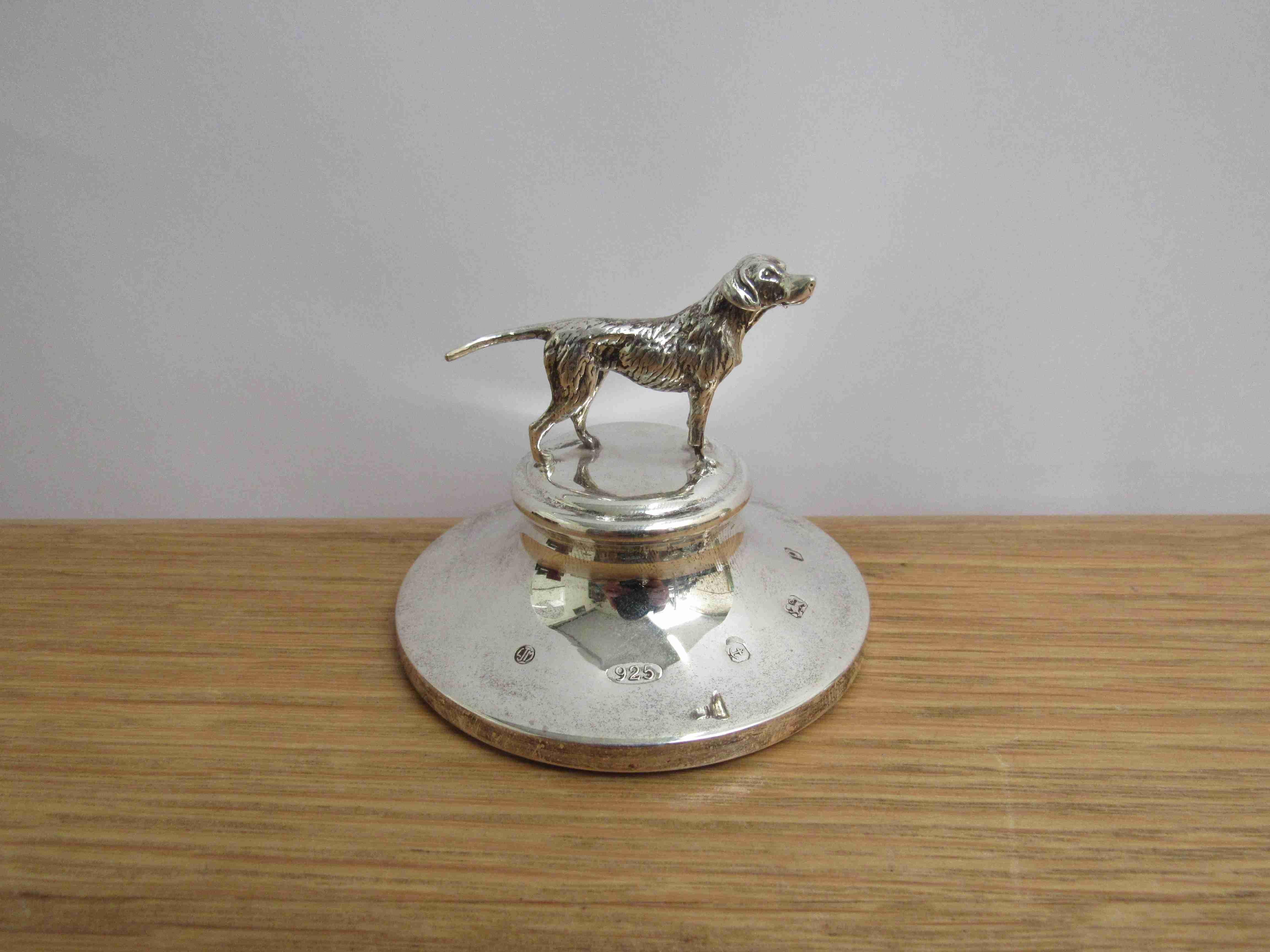 Lot 3 - An L.J. Millington silver desk weight of a Pointer dog, Birmingham 2014, 7.