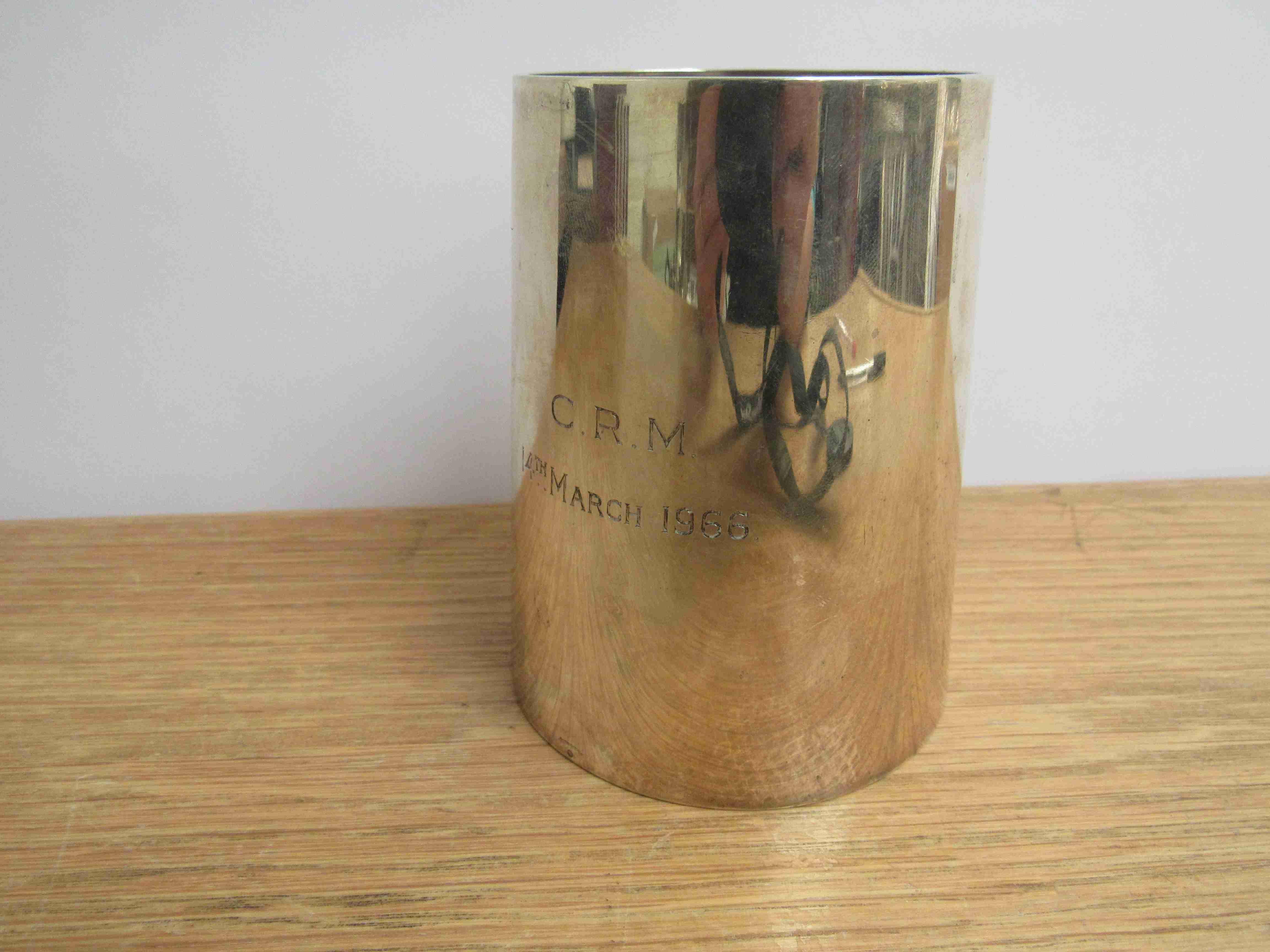Lot 27 - An Edwardian silver tankard of plain tapered form, maker indistinct, London 1902,