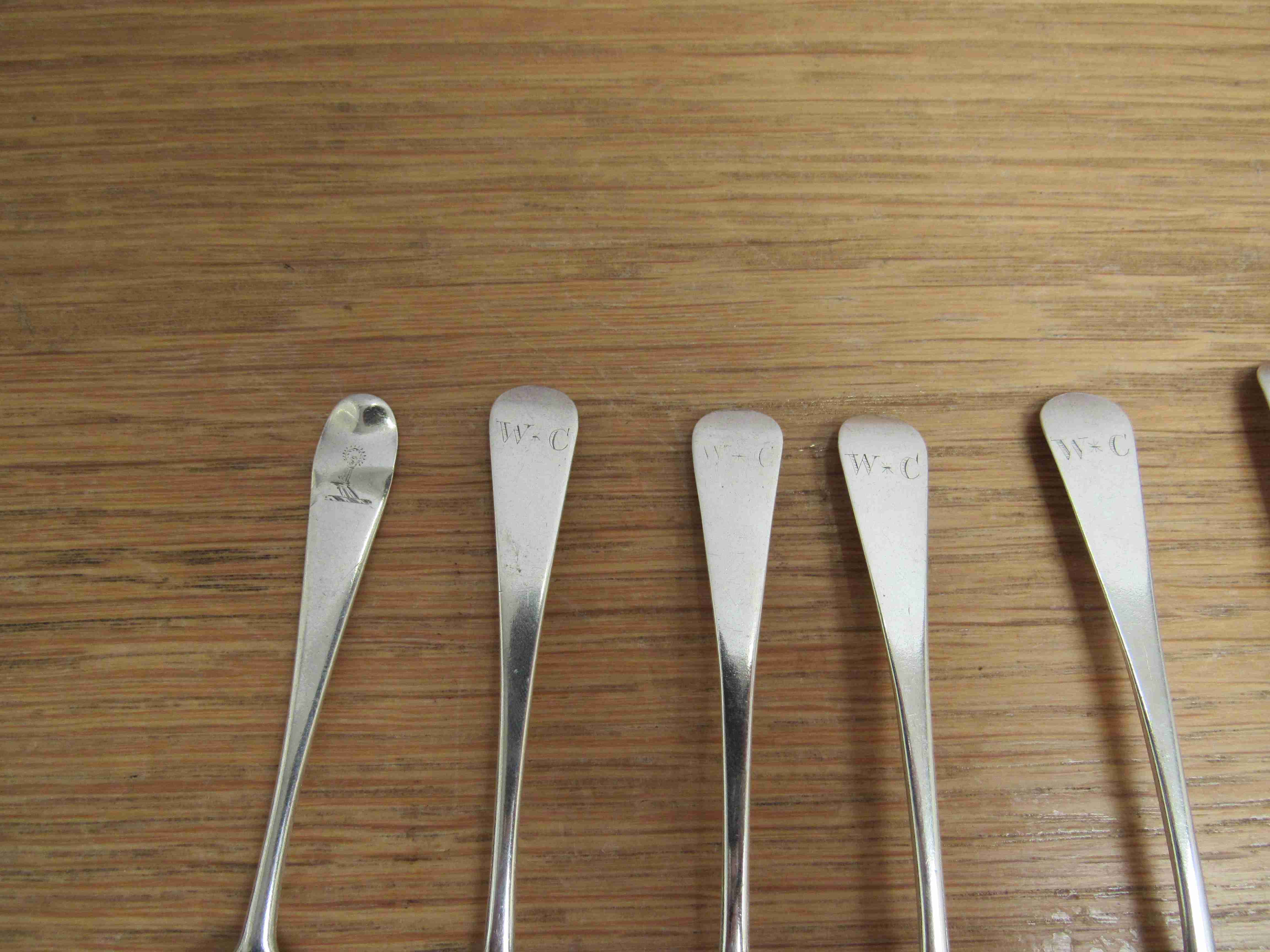 Lot 51 - Eight silver Georgian teaspoons various makers and dates,