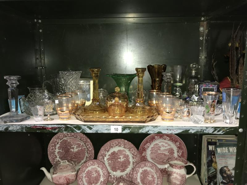 Lot 10 - A shelf of assorted glassware including 2 dressing table sets