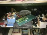 Lot 12 - A shelf of DIY tools and fixtures including drill bit set and clips