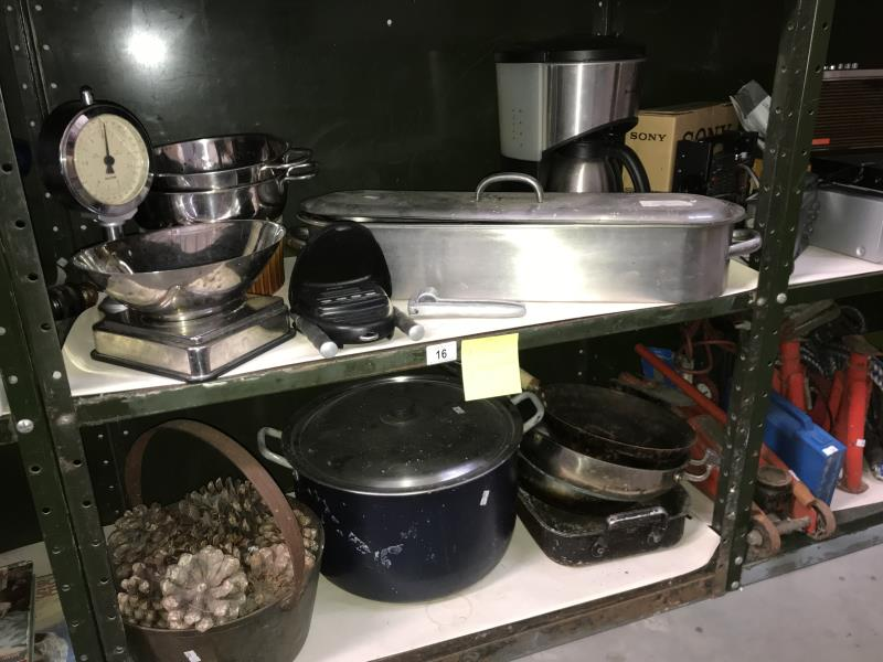 Lot 16 - 2 shelves of cooking pots, coffee maker and stainless steel scales etc.