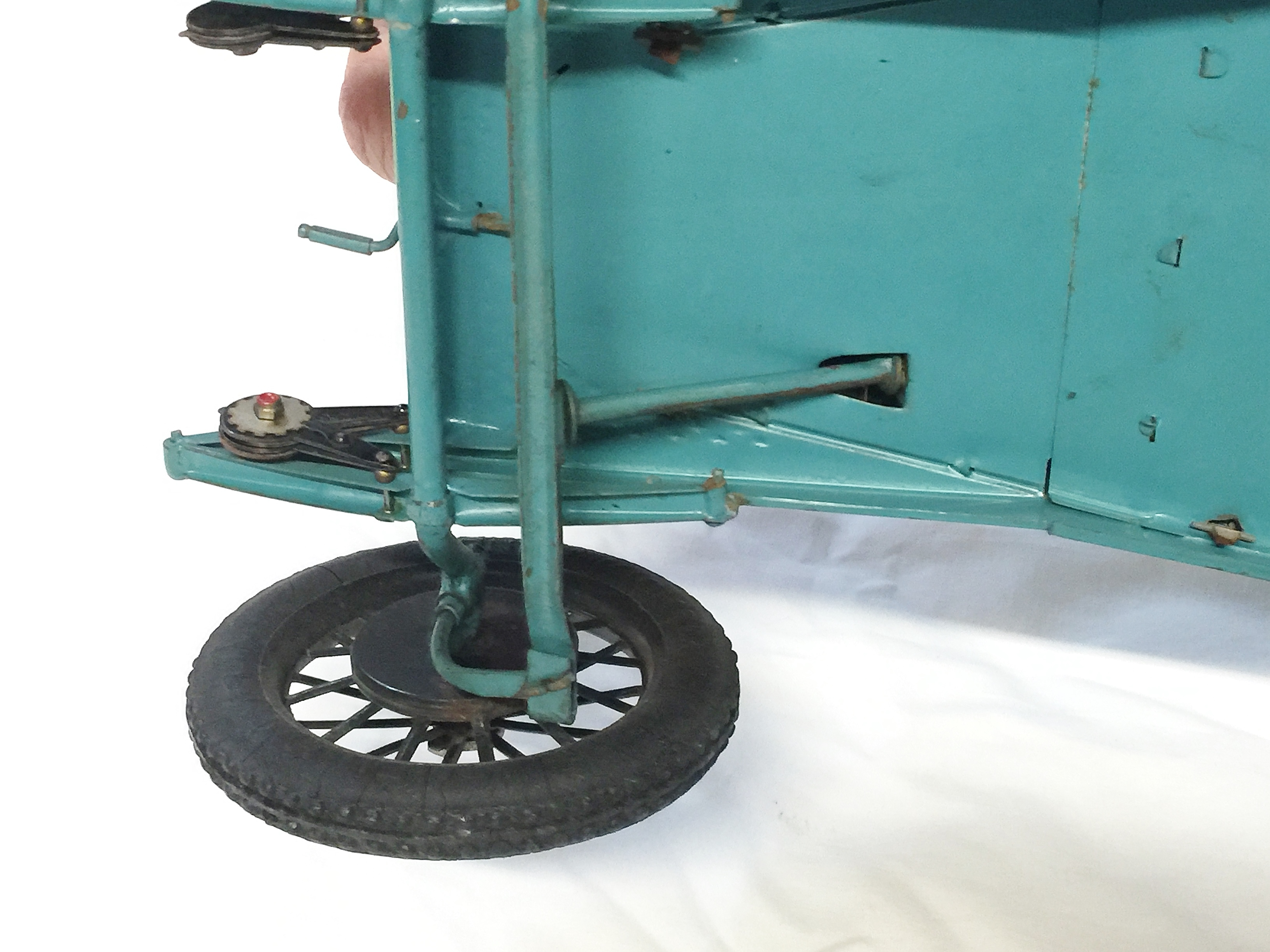 Lot 2407 - A rare 1920's CIJ Alfa Romeo tinplate clockwork car in French blue,