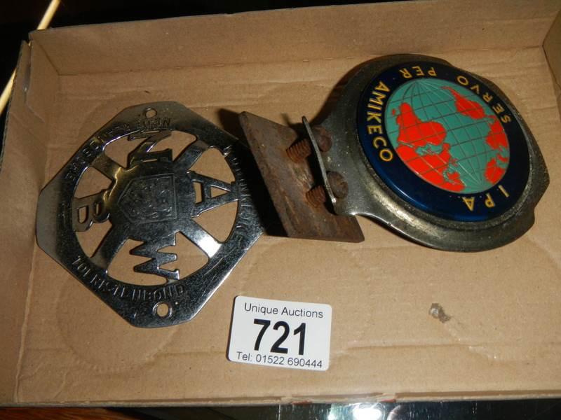 Lot 721 - A Dutch car badge and an IPA car badge.