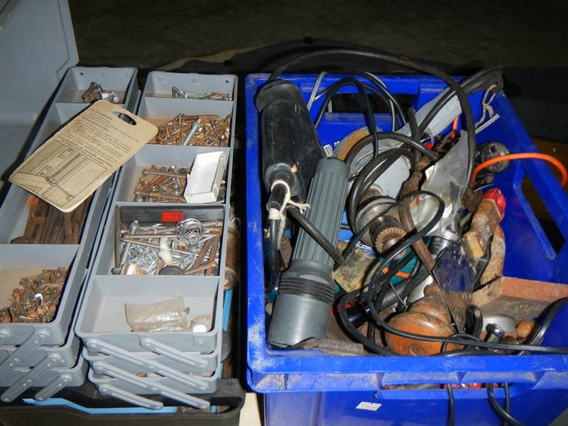 Lot 636 - 2 boxes of tools including drills, nails etc.