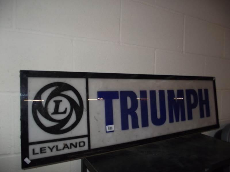 Lot 588 - A large 1970's Leyland Triumph plastic dealer light board sign panel, a/f.
