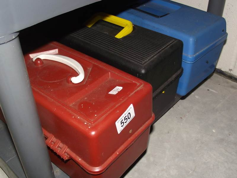 Lot 550 - 3 plastic tool boxes and contents.