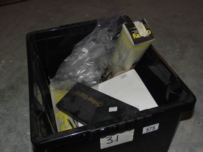 Lot 575 - A box of tools etc., including hole saw, door handles, 2 Galaxy multi purpose lamps etc.