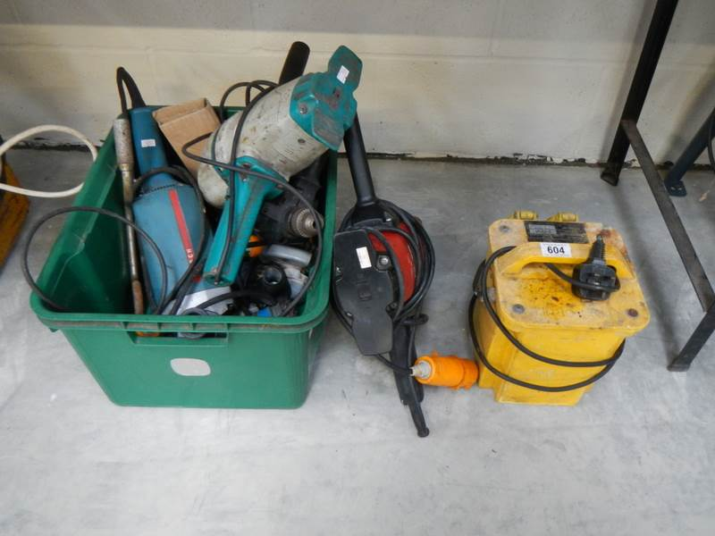 Lot 604 - A110 volt Kango hammer, transformer and other electrical tools.