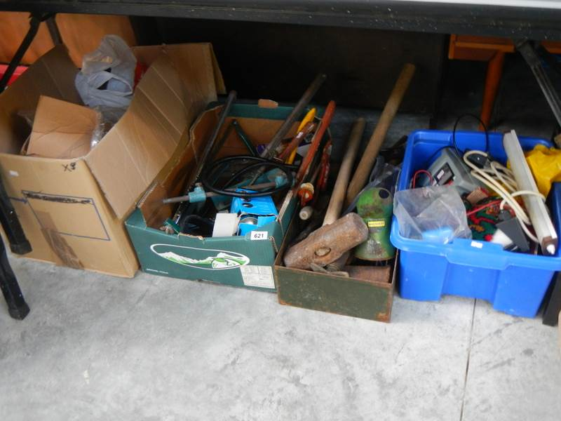 Lot 621 - 4 boxes of miscellaneous tools including sledge hammers, battery charger, power steering pump etc.
