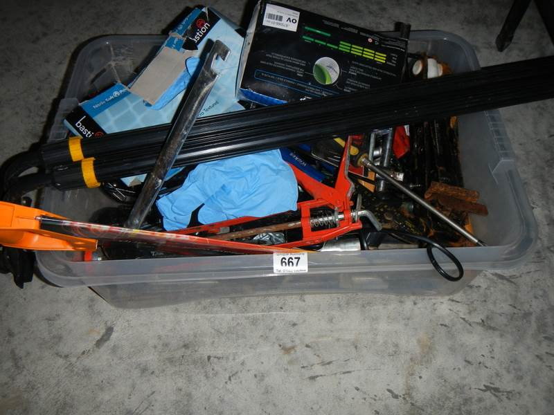 Lot 667 - A box of old tools including jack saws, roof bars etc.