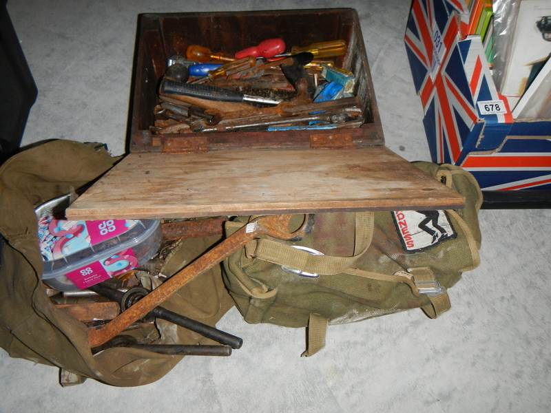 Lot 677 - A wooden box and 2 canvas bags of spanners and other tools.