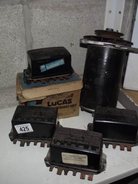 Lot 425 - 4 Lucas RB340 voltage regulators and a Lucas C40 dynamo.