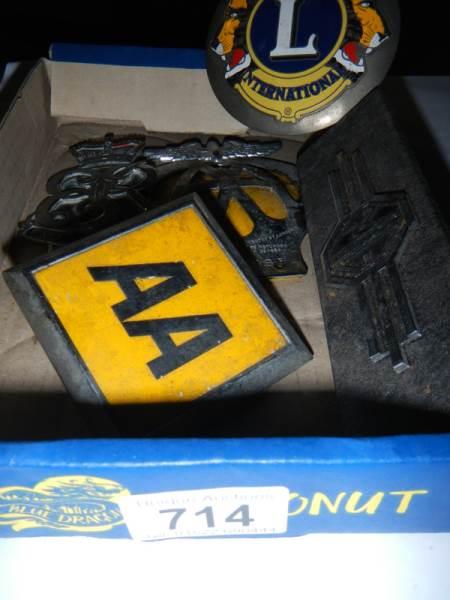 Lot 714 - A Lions International Elizabeth II, AA car badge.