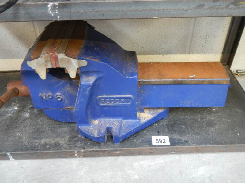"""Lot 592 - A Record 6"""" bench vice"""