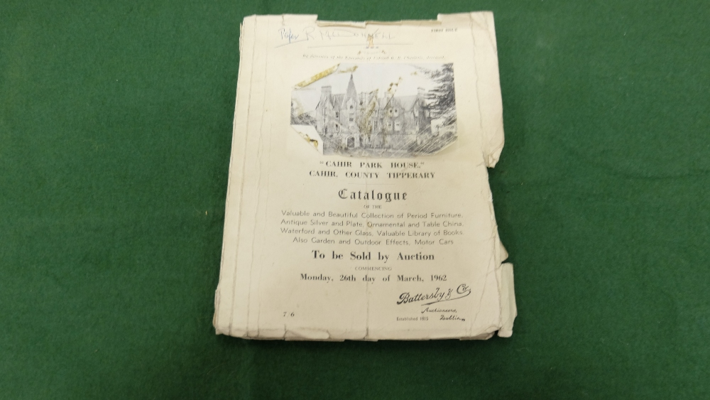 """Lot 178 - """"Cahir Park House"""", Cahir, Co Tipperary contents auction catalogue, 1962, by direction of the"""