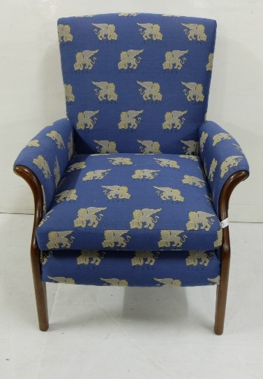 Lot 20 - Upholstered Armchair, Parker Knoll, blue fabric featuring gold lions, good condition
