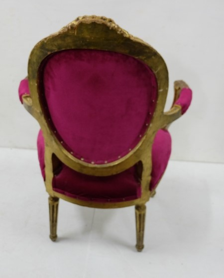 Lot 1 - Continental style Carved Wood Salon Armchair, painted gold, with pink fabric covered seat and oval