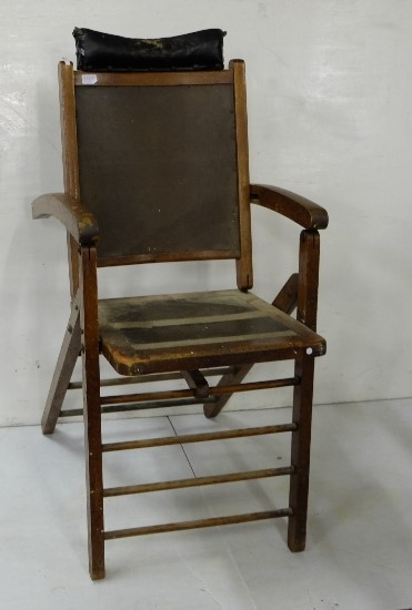 Lot 23 - Antique folding oak Examination Chair with head rest