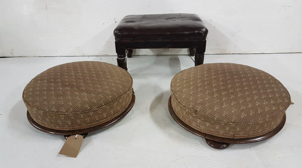 Lot 39 - A pair of Victorian mahogany framed circular footstools, a larger similar stool with woolwork