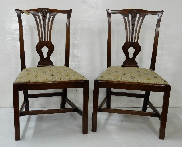 Lot 40 - Pair of Chippendale Design Dining Chairs, needlepoint padded seats
