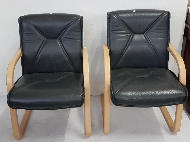 Lot 14 - Matching Pair of modern Reception Armchairs, on flexible beech frames, navy blue leatherette