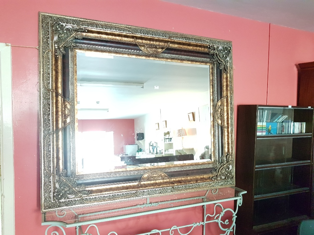 Lot 44 - Large ornate and rectangular-shaped French replica Wall Mirror (resin based) with ornate multiple