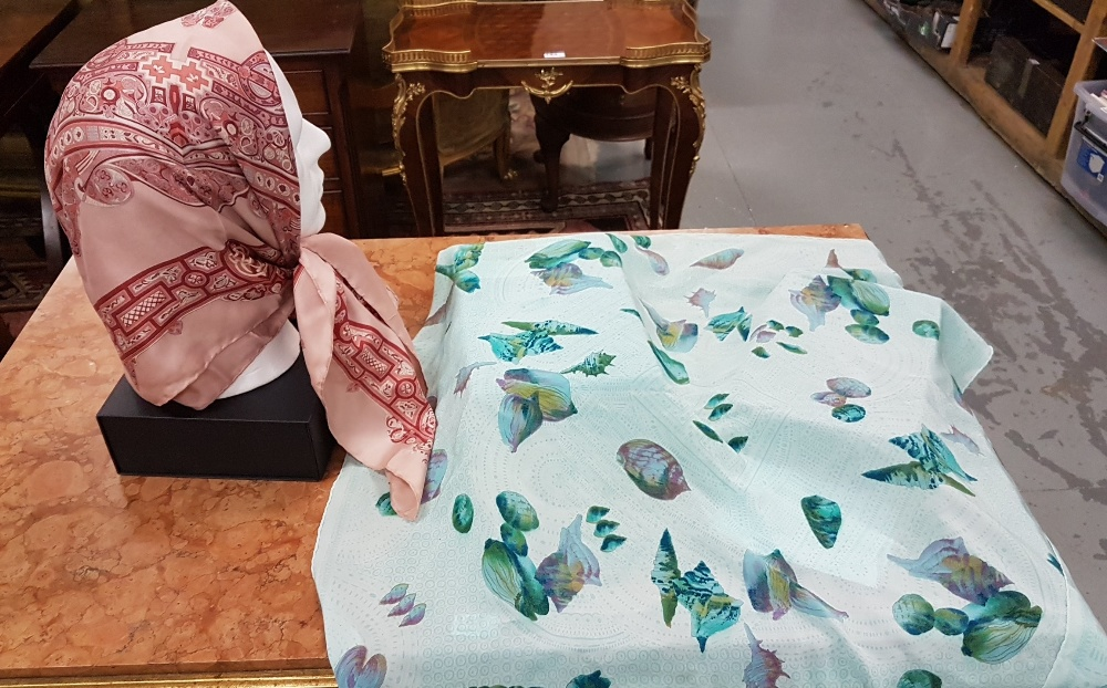 """Lot 3 - DAVID KENDRICK silk Scarf, pink, design """"inspired by The Book of Kells"""" and Italian silk"""