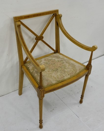 Lot 28 - Antique Inlaid Satinwood Elbow Chair, floral padded seat, with cross framed back