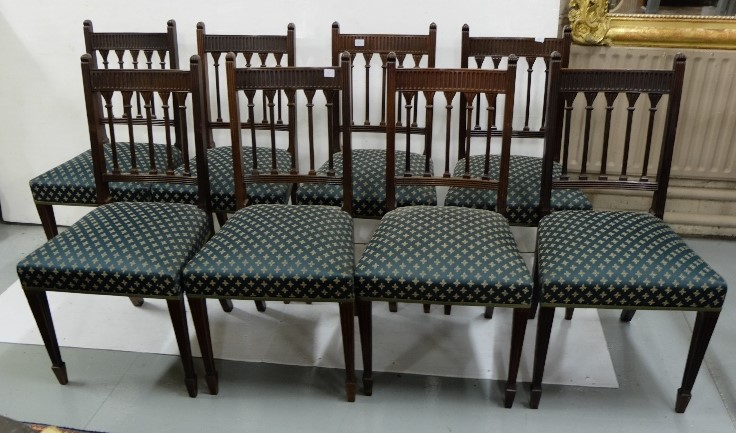 Lot 17 - Set of 8 x 19th C mahogany Dining Chairs with column design backs on reeded and tapered front