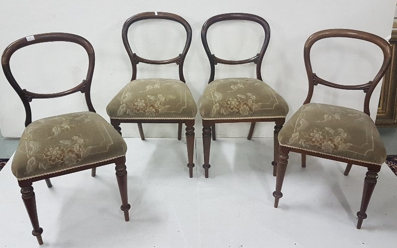 Lot 22 - Set of 4 x Victorian mahogany balloon back Chairs, green floral fabric (4)
